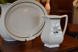 Iron Stone Serving Plate and Pitcher