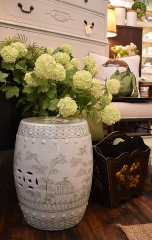 Green and White Ceramic Garden Stool
