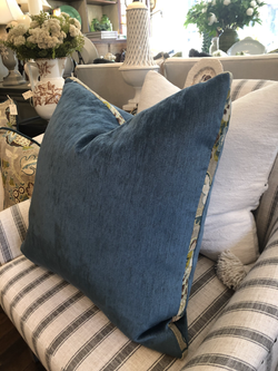 Custom Blue Velvet Cushion with Fabric Trim
