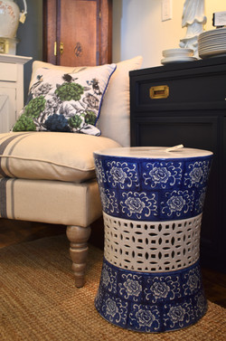 Blue & White Chinoiserie Stool with Lattice