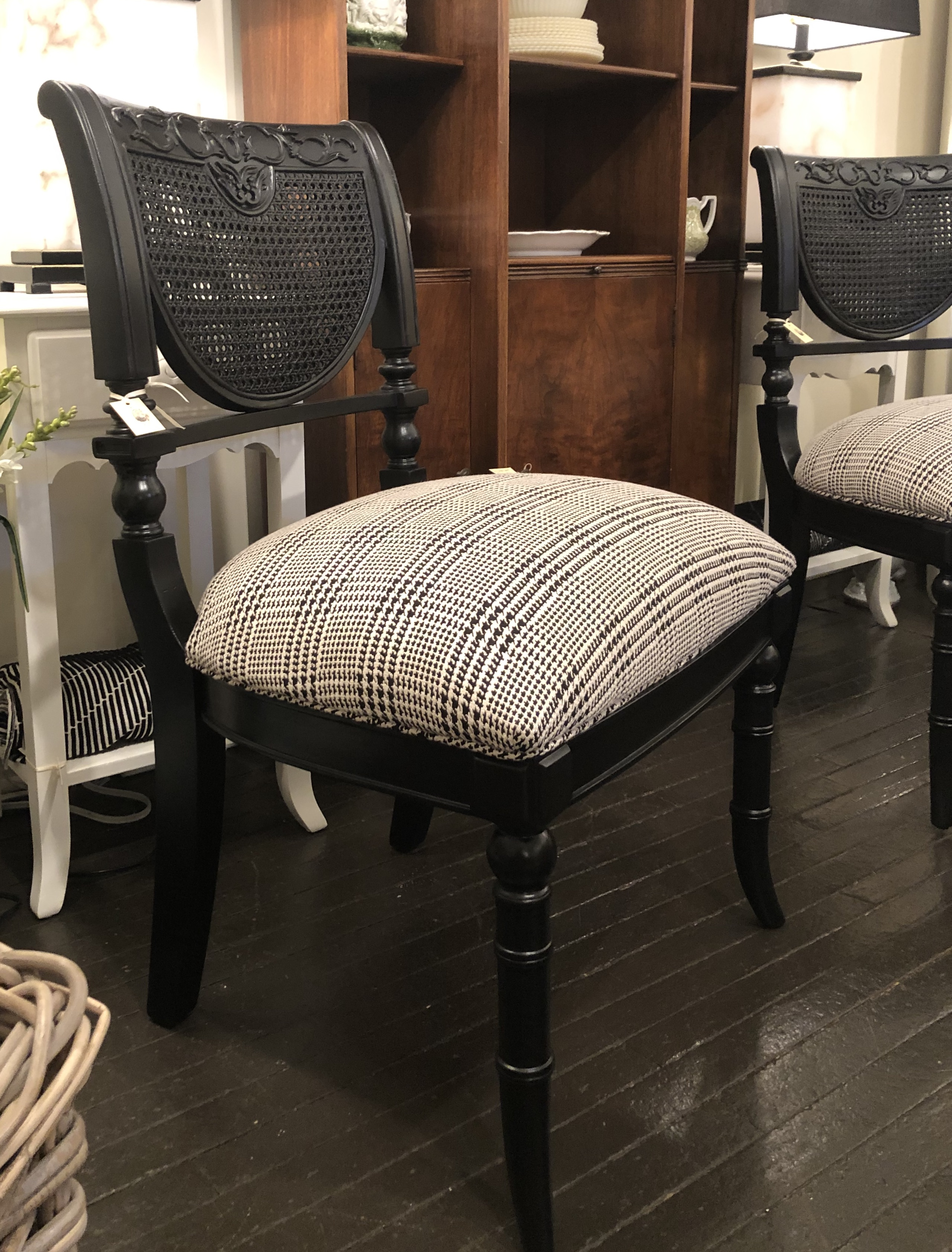 Newly Reupholstered Cane Chairs