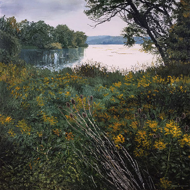 Cootes #18 (Just the still melancholy that I love - that makes life and nature harmonise.) Acrylic 36x36 2016 SOLD