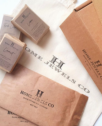 Home Jewels Co wax melts, organic printed tote bag and plastic free packaging materials.