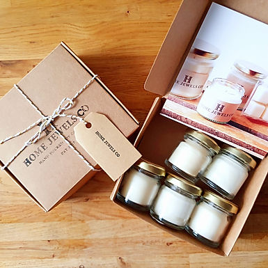 Handcrafted, organic soy candle sample box.