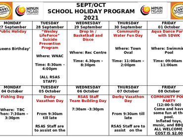 RSASSEPT/OCT SCHOOL HOLIDAY PROGRAM 2021