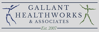Gallant HealthWorks logo, two people leaping around logo