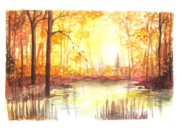 Autumn Forest - Watercolour