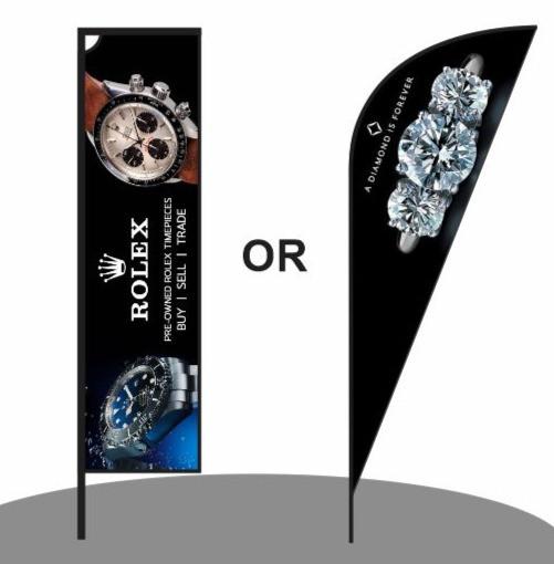 Sharkfin Flag Banner and Telescopic Flag Banner