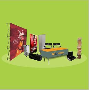 custom branded banners, table cloths, indoor displays