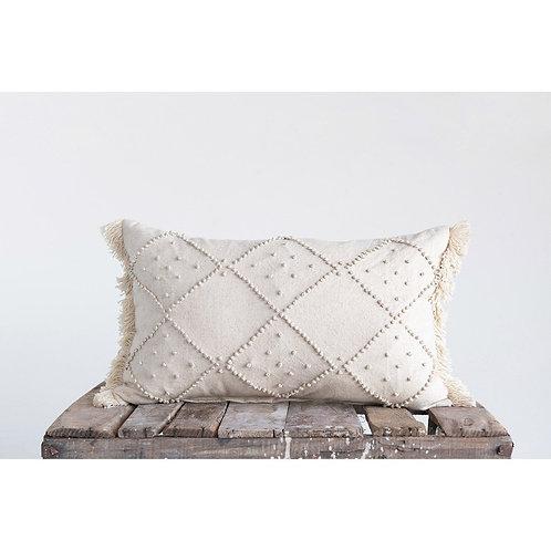 French Knot Linen Lumbar Pillow