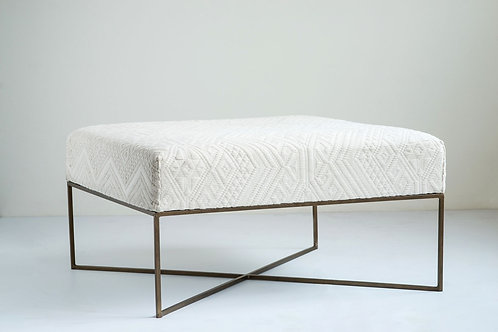 """34"""" Square Woven Damask Upholstered Ottoman"""
