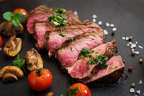 Juicy Steak Medium Rare Beef With Spices And Grilled Vegetables..jpg