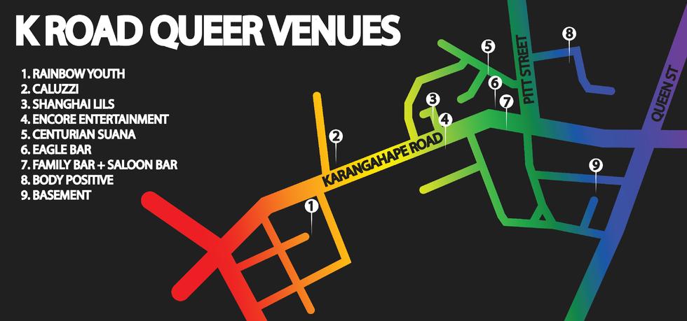 K Road Queer Venues Map 2018
