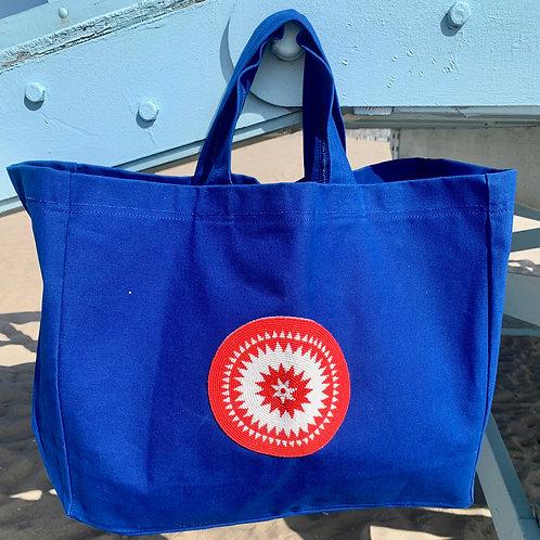 Sunkit Beach Bag blue red circle