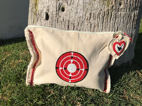 Sunkit Clutch off white red