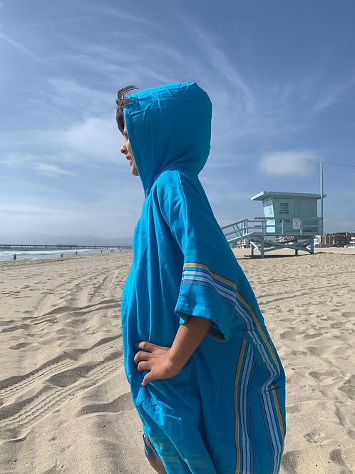 Sunkit Kikoy Kids Surf Poncho changing turquoise