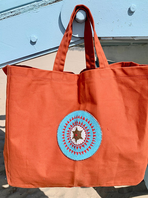 Sunkit Beach Bag orange turquoise