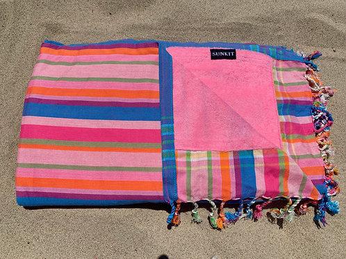 Sunkit Kikoy beach towel stripy pink blue