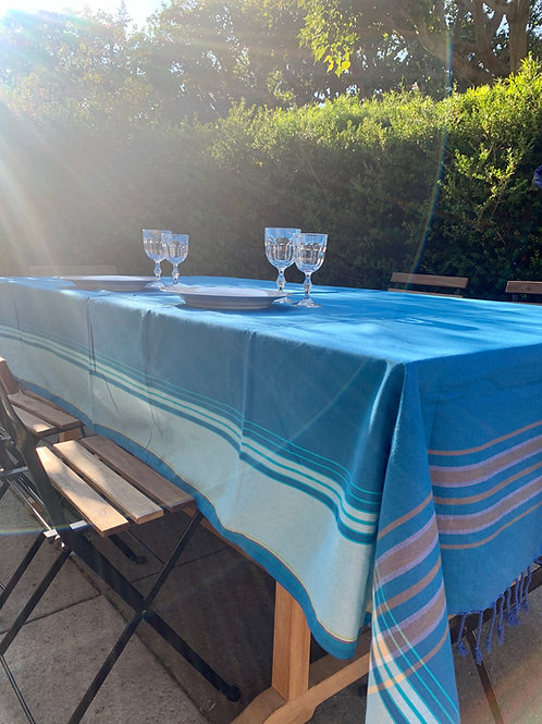 sunkit kikoy throw tablecloth cover blue