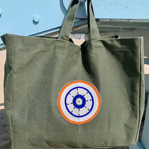 Sunkit Beach Bag khaki blue star