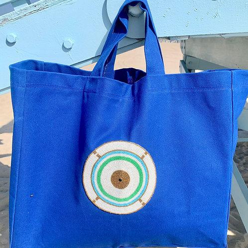 Sunkit Beach Bag blue turquoise circle
