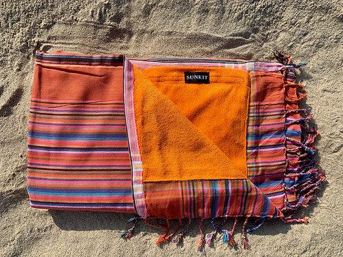 Sunkit Kikoy beach towel stripy salmon