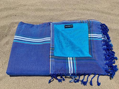 Sunkit Kikoy beach towel white blue jeans
