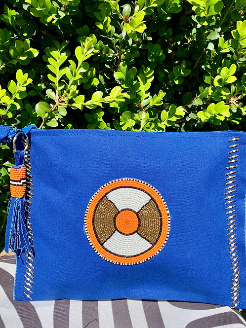 Sunkit Clutch blue gold orange