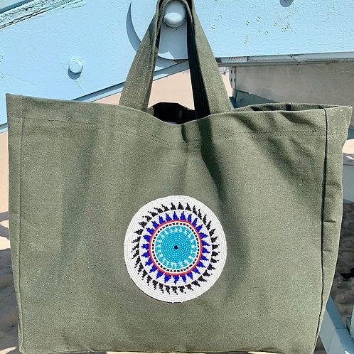 Sunkit Beach Bag khaki blue sun