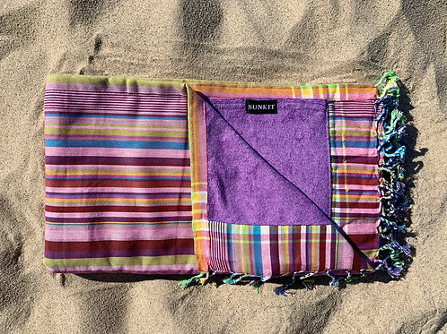 kikoy beach towel stripy purple with a smart pocket