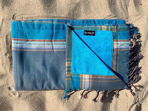 Sunkit kikoy beach towel khaki turquoise with a smart pocket
