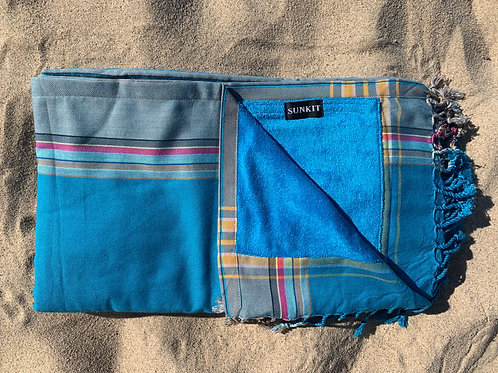 kikoy beach towel turquoise khaki with a smart pocket