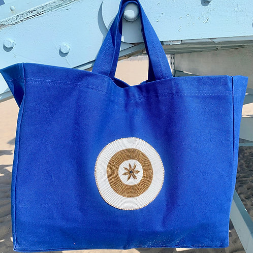Sunkit Beach Bag blue gold star