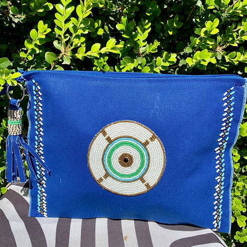 Sunkit Clutch blue turquoise circle