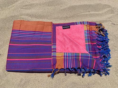 Sunkit Kikoy beach towel stripy purple