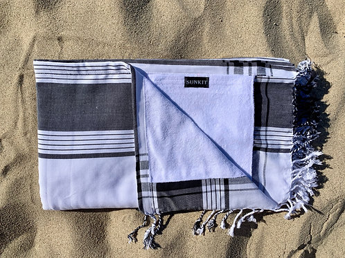 Sunkit Kikoy beach towel grey white