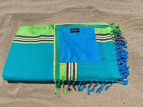 Sunkit Kikoy beach towel green turquoise