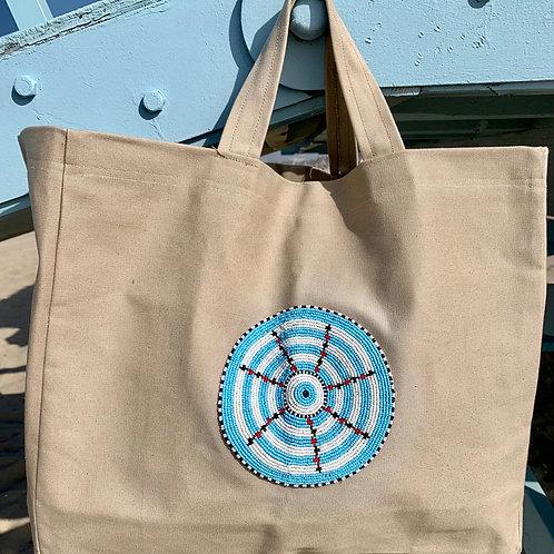 Sunkit Beach Bag beige turquoise