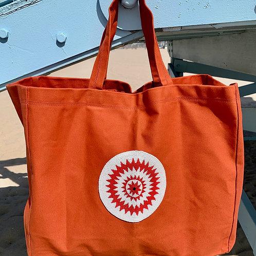 Sunkit Beach Bag orange red star
