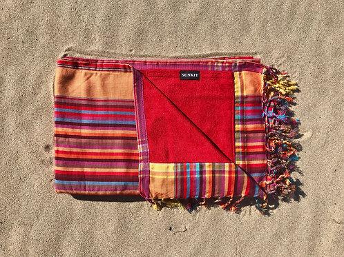 Sunkit Kikoy stripy red orange