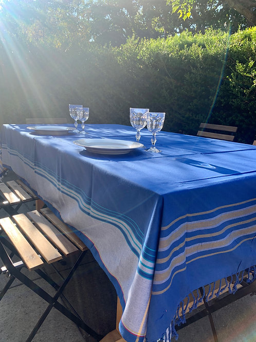 Sunkit kikoy throw, tablecloth navy blue