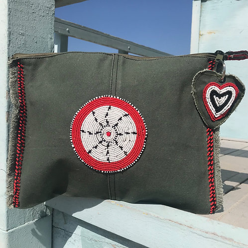 Sunkit Clutch olive red anchor