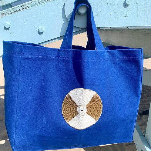 Sunkit Beach Bag blue gold ball