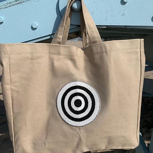 Sunkit Beach Bag beige black circle