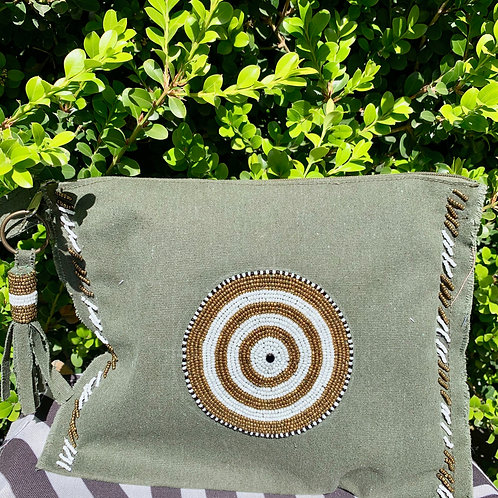Sunkit Clutch khaki gold circle