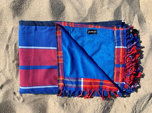 kikoy beach towel blue red with a smart pocket