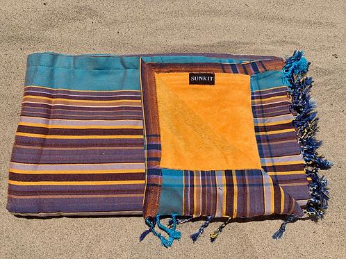 Sunkit Kikoy beach towel stripy brown yellow