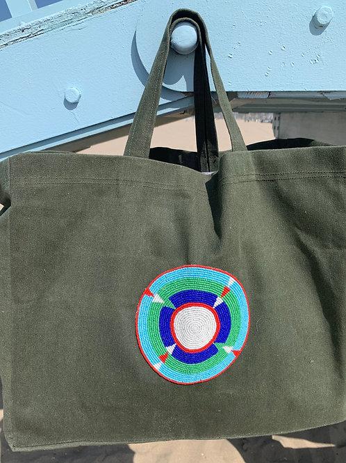 Sunkit Beach Bag khaki turquoise