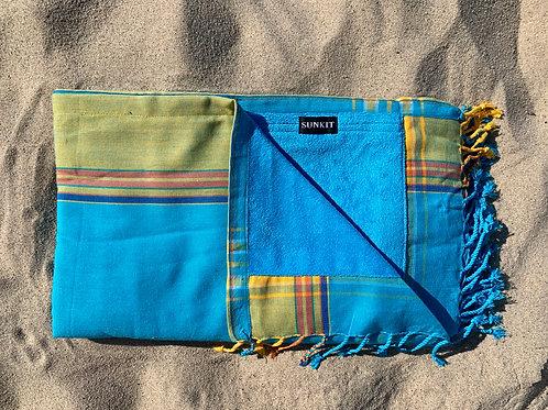 sunkit kikoy beach towel turquoise yellow with a smart pocket