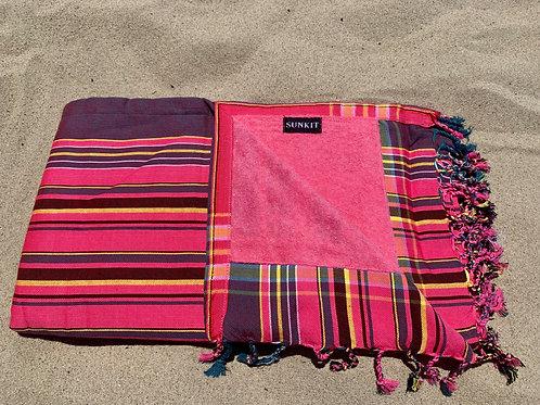 Sunkit Kikoy beach towel stripy pink